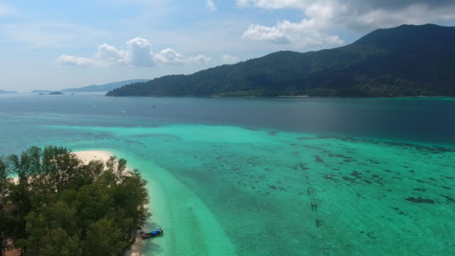 Aerial Flight Over White Sandy Beach and Beautiful Blue Ocean.