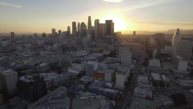 "Aerial ""Fly Away"" from Downtown Los Angeles During Sunset"