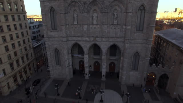 Aerial fly by Notre Dame Cathedral Montreal