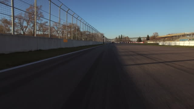 vídeos y material grabado en eventos de stock de aerial fly by of chicane at formula 1 track in montreal - formula 1