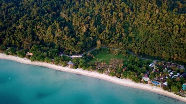 aerial fly over koh chang beach - koh chang stock videos and b-roll footage