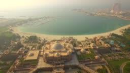 Aerial. Fly Over Luxury  Emirates Palace Hotel.  Abu Dhabi, UAE. 4K