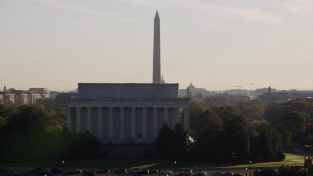 Aerial flying across Lincoln Memorial middle of day Washington DC