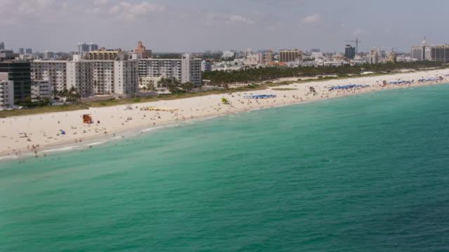 Aerial flying across South Beach, Miami FL