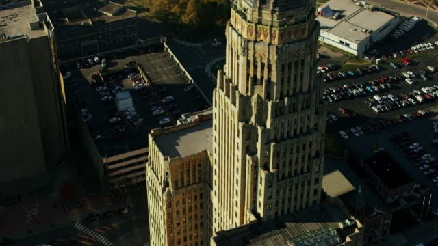 aerial flying around buffalo city hall, daytime buffalo ny - buffalo new york state stock videos & royalty-free footage