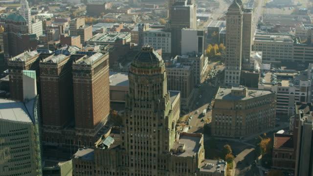 Aerial flying around Buffalo City Hall, Daytime Buffalo NY
