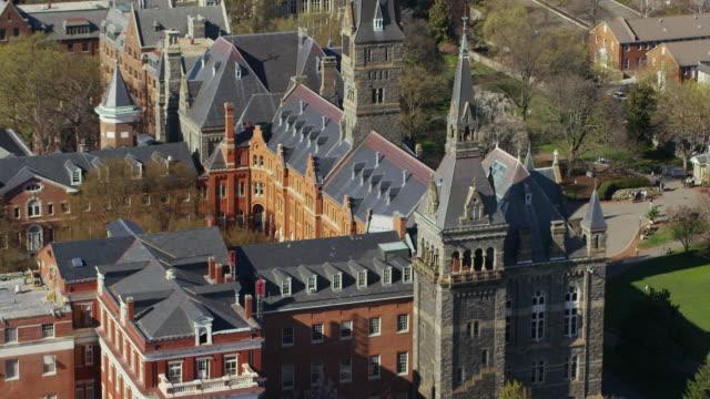 Aerial flying around Georgetown University in DC