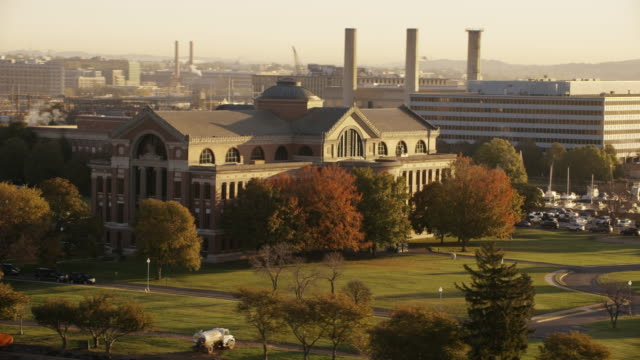 Aerial flying around National War College, Washington DC daytime