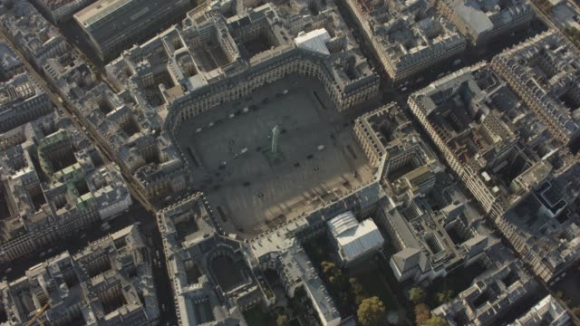 aerial flying around place vendôme, in paris france, day - square stock videos & royalty-free footage