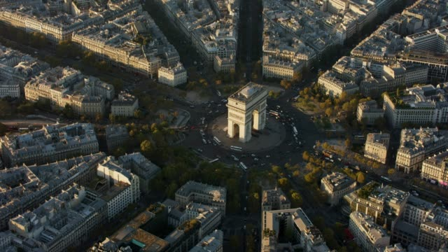 Aerial flying around the Arc de triomphe in Paris France, sunset