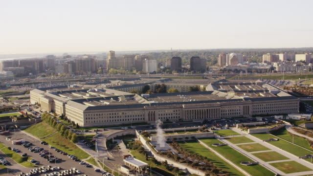 Aerial flying around The Pentagon in Washington DC, daytime