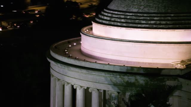 Aerial flying around The Thomas Jefferson Memorial, night Washington D.C.