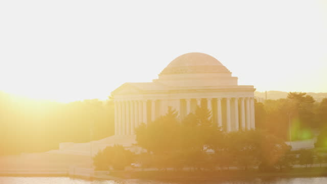 Aerial flying around The Thomas Jefferson Memorial, Sunrise DC