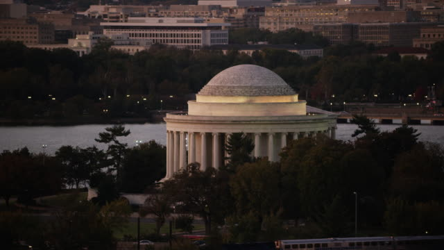 Aerial flying around The Thomas Jefferson Memorial, Sunset D.C.