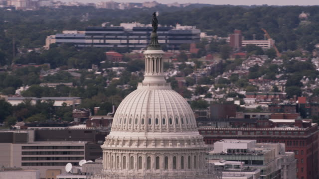 Aerial flying around United States Capitol Building, Washington D.C.