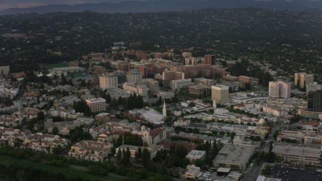 Aerial flying around University of California Los Angeles, Sunset