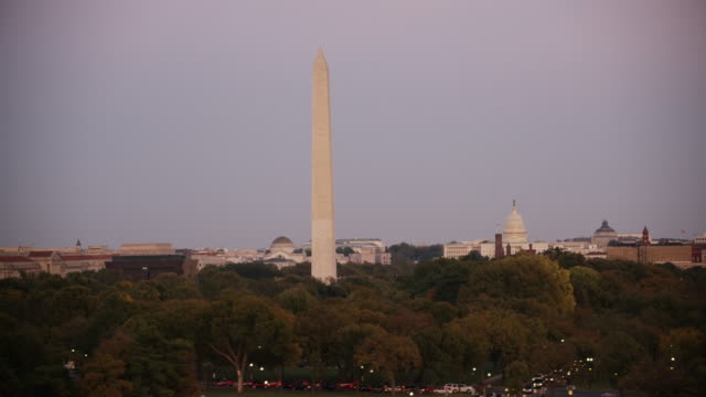 Aerial flying low looking at Washington Monument, sunset D.C.
