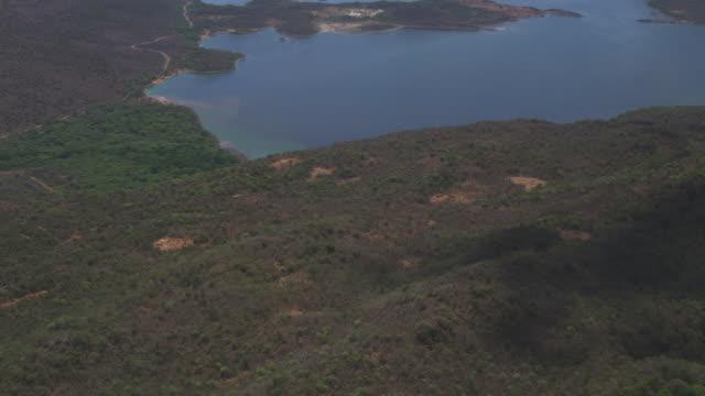 Aerial WS flying low over bush revealing Lake Bogoria