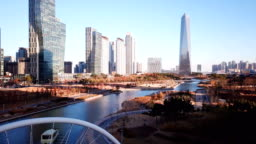 Aerial Flying of Incheon,Central Park in Songdo International Business District , South Korea