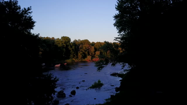 aerial flying out of shadows from trees over a river - contea di ulster stato di new york video stock e b–roll