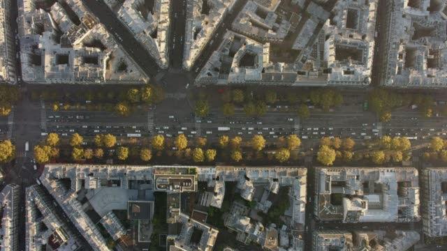 vídeos de stock, filmes e b-roll de aerial flying over and looking directly down at avenue charles-de-gaulle (neuilly-sur-seine) paris france, morning - arco triunfal
