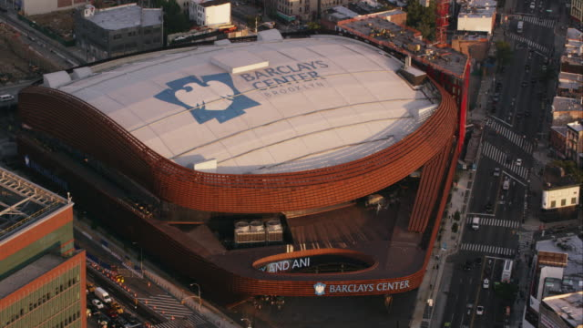 aerial flying over barclays center in brooklyn ny - mid atlantic usa stock videos and b-roll footage