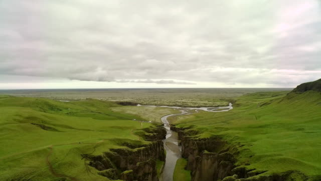 Aerial flying over beautiful rocky canyon in Iceland