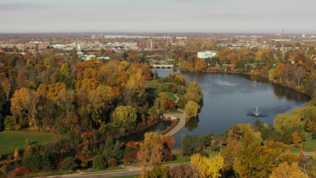 aerial flying over buffalo river, fall foliage, buffalo ny - buffalo new york state stock videos & royalty-free footage