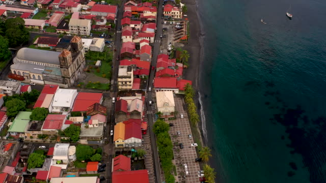 aerial flying over caribbean town of saint-pierre in martinique, daytime - french overseas territory stock videos & royalty-free footage