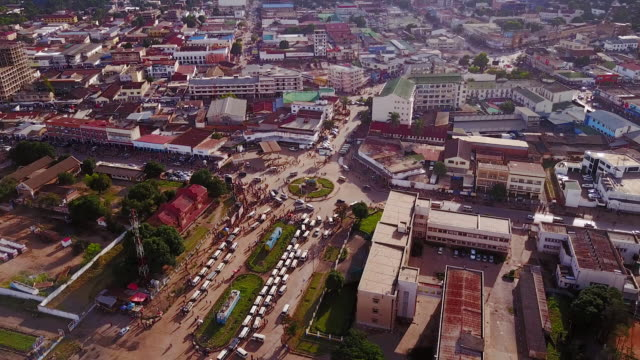 aerial flying over center of lubumbashi city, congo, in africa - democratic republic of the congo stock videos & royalty-free footage