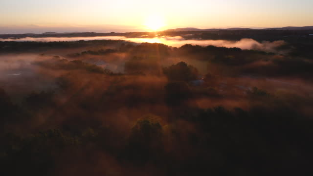 aerial flying over country landscape with low fog over the trees at sunrise - ulster county stock videos & royalty-free footage