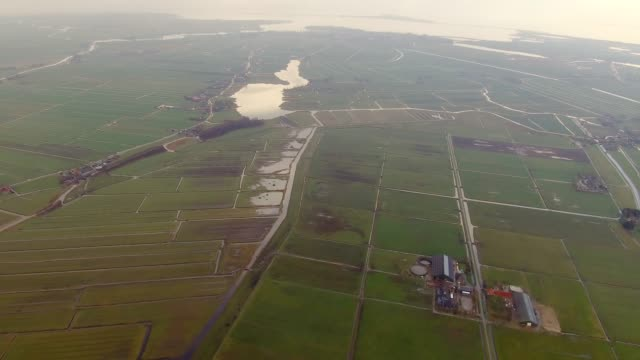 aerial flying over field of land and water north of amsterdam, netherlands daytime - agriculture stock videos & royalty-free footage