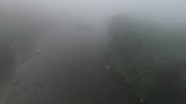 aerial flying over foggy river in summer - new paltz ny stock videos and b-roll footage