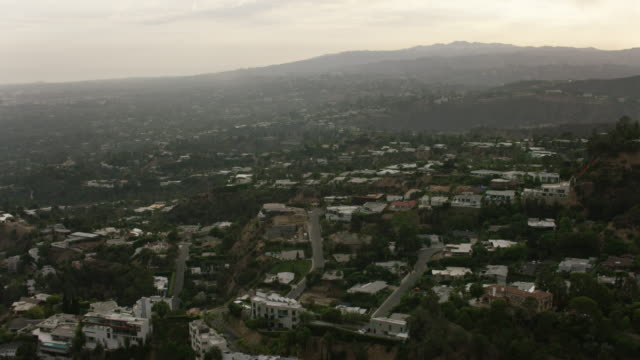 Aerial flying over Hollywood Hills Los Angeles, CA