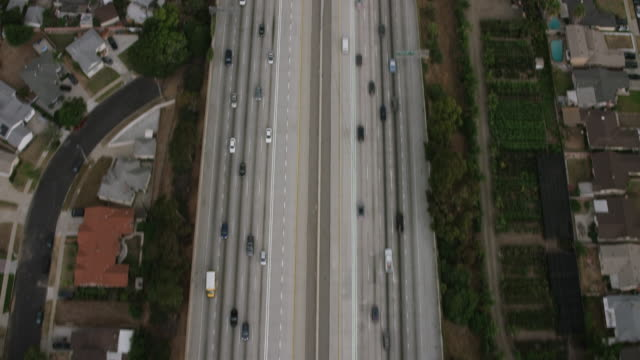 Aerial flying over Interstate 110 LA, CA