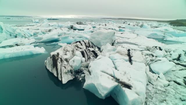 Aerial flying over Jökulsárlón glacier lagoon in Iceland panning right