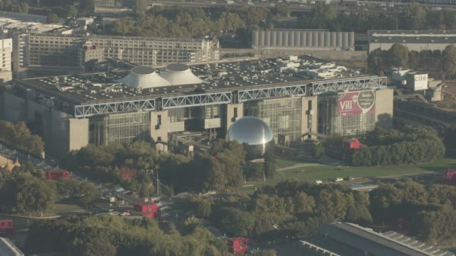 Aerial flying over Paris France looking at La Villette and surrounding area, morning