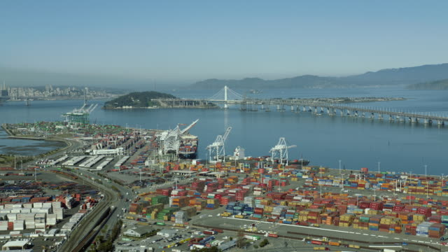 aerial flying over port of oakland - oakland california stock videos & royalty-free footage