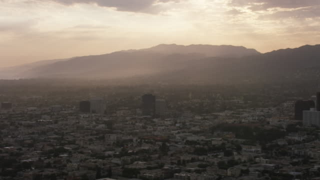 aerial flying over santa monica los angeles, ca sunset - dusk stock videos & royalty-free footage