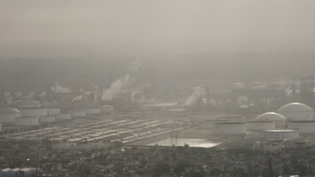 Aerial flying over shipping area in Port of Long Beach Terminal Island, CA