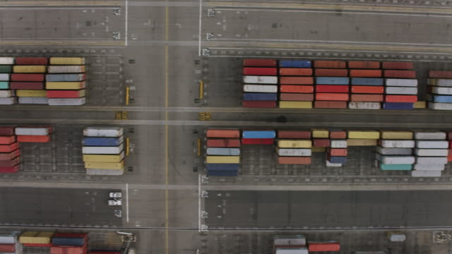 Aerial flying over shipping containers Terminal Island, CA