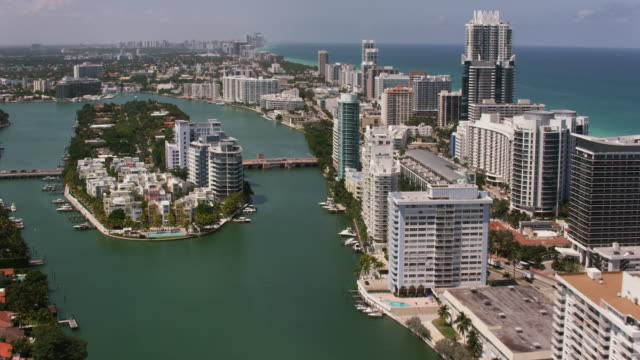 Aerial flying over South Beach Miami in Miami FL