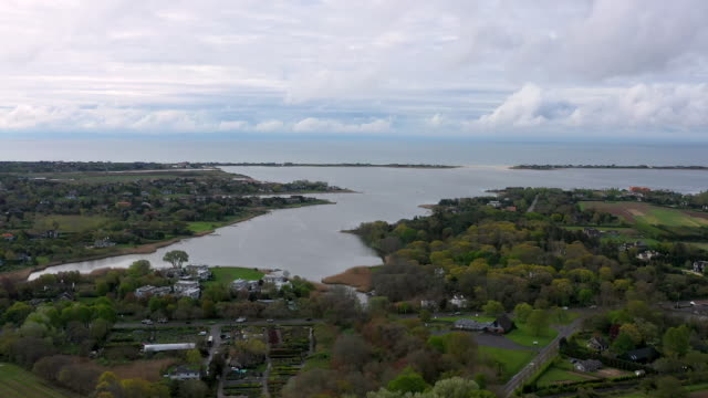 aerial flying over southampton ny towards the ocean, daytime - long island video stock e b–roll