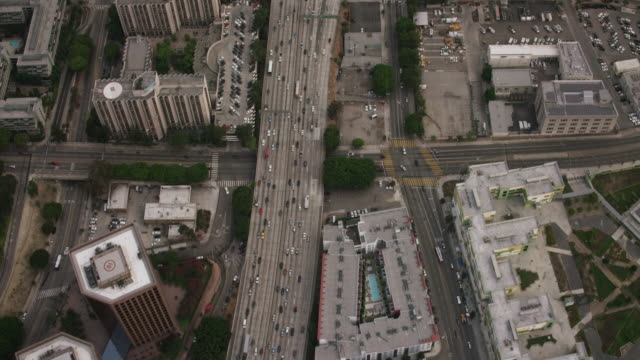 Aerial flying over the 110 in Los Angeles, CA morning