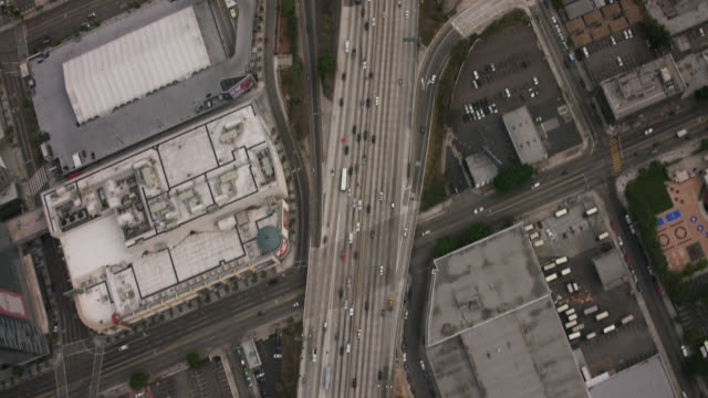 aerial flying over the 110 in los angeles, ca morning - repetition stock videos & royalty-free footage