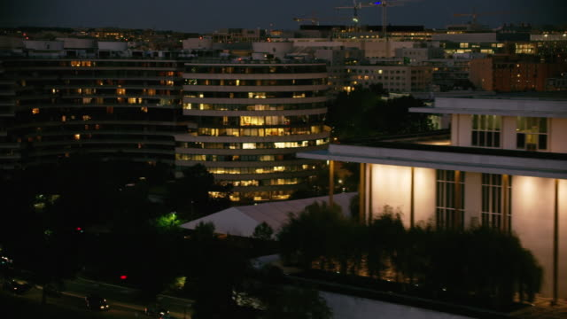 aerial flying over the potomac river washington d.c., night - performing arts center stock videos & royalty-free footage