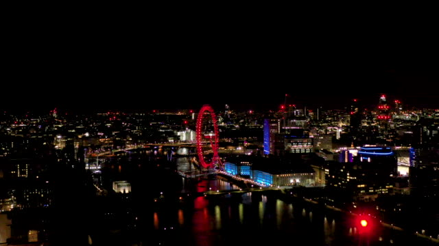 aerial flying over the river thames view over the city at night, london uk - drone point of view stock videos & royalty-free footage