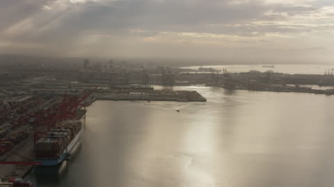 aerial flying over the water in port of long beach, terminal island, ca - long beach california video stock e b–roll