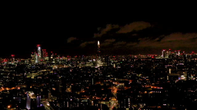aerial flying over the waterloo area in the city of london uk, at night - night stock videos & royalty-free footage