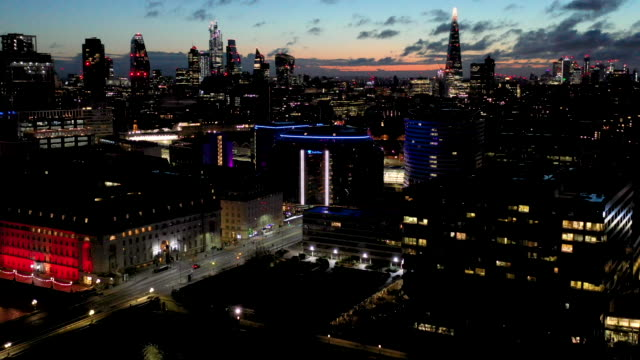 aerial flying over the waterloo area in the city of london uk, sunrise - drone point of view stock videos & royalty-free footage